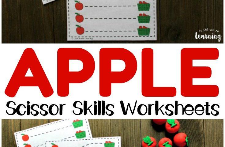 Preschool Worksheets: Apple Preschool Scissor Skills Worksheets