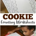 Use these cute cookie counting worksheets for preschool with your early learners!