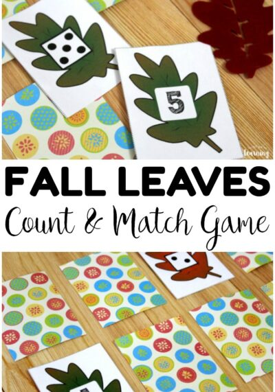 Use this fun fall leaves preschool concentration game to help little learners practice number skills and counting!