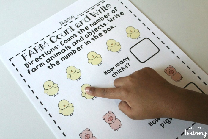 Counting with Farm Preschool Worksheets