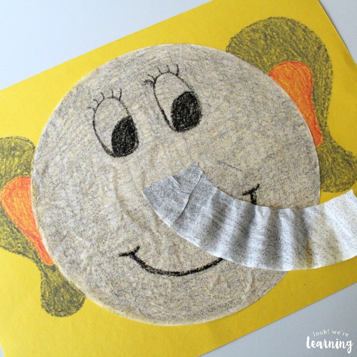 Easy Coffee Filter Elephant Craft for Kids