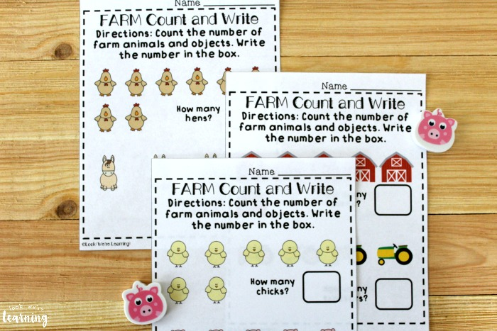 Farm Count and Write Fall Counting Worksheets