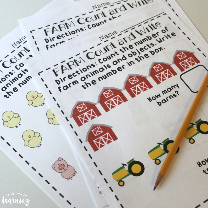 Farm Fall Counting Worksheets