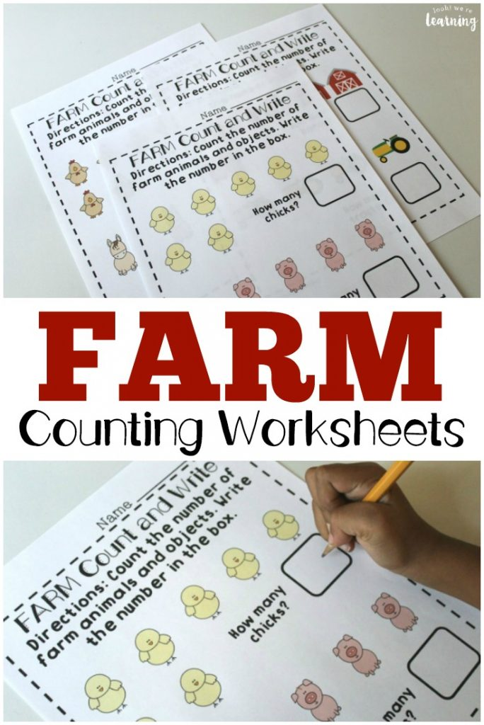 Help preschoolers learn to count with these farm-themed preschool fall counting worksheets!
