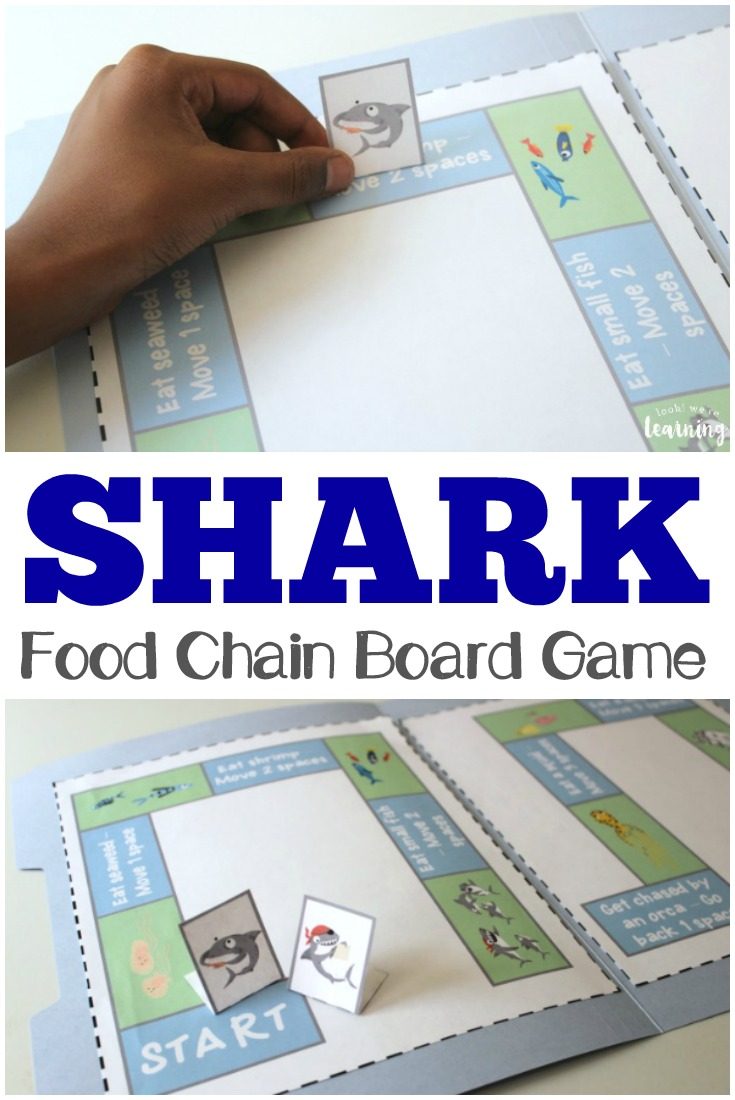 Learn about the fascinating world of sharks with this printable shark food chain game!