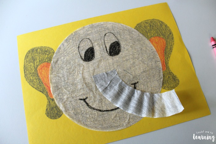 Simple Coffee Filter Elephant Craft for Kids
