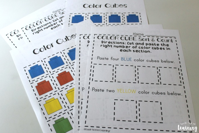 Color Counting Preschool Sorting Worksheets