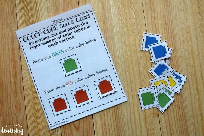 Color Cube Sorting Worksheets