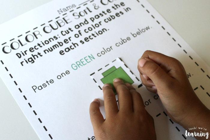 Color Cubes Preschool Sorting Worksheets