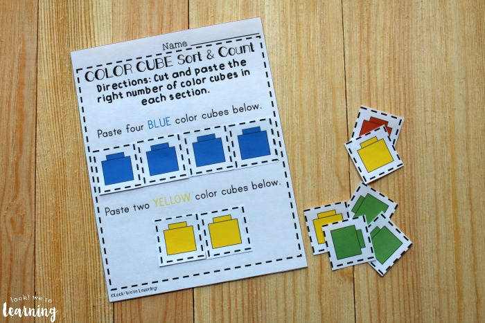 Colorful Cube Sorting Worksheets