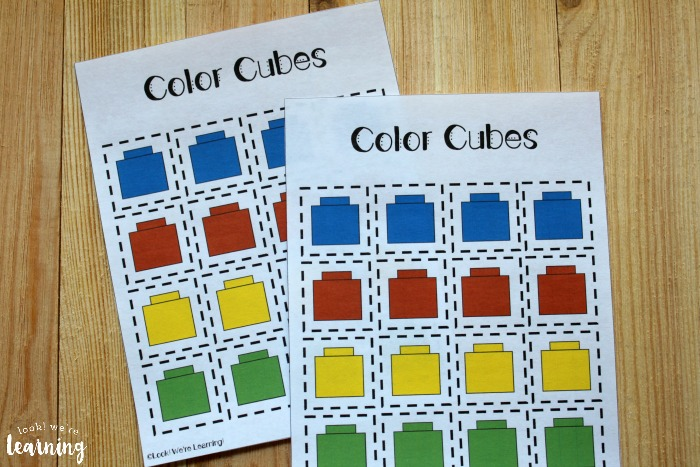 Colorful Cubes Preschool Sorting Worksheets