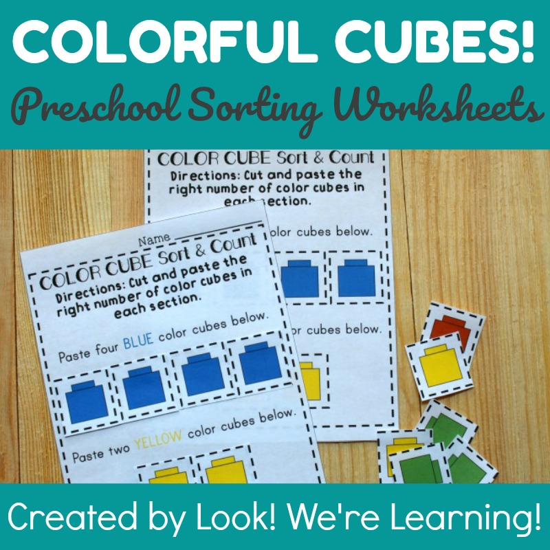 Colorful Cubes Preschool Worksheets