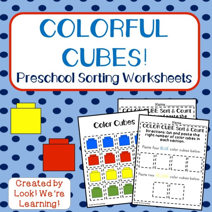 Colorful Cubes Sorting Worksheets