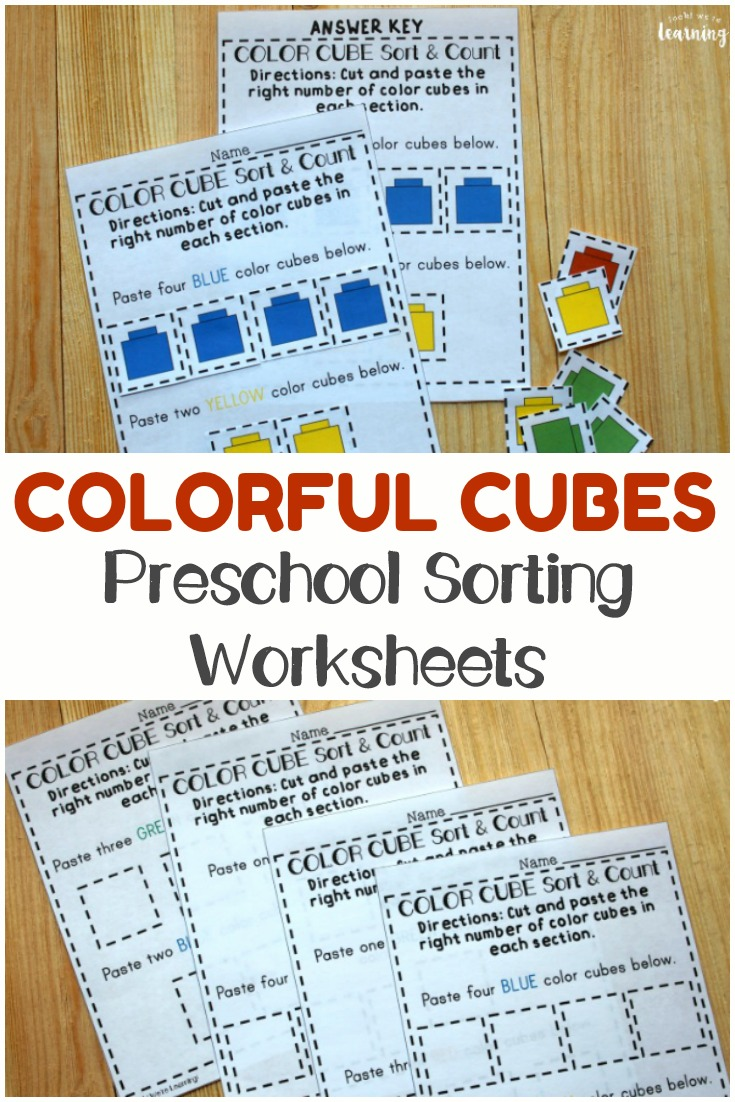 Help preschoolers learn to sort objects by color and number with these colorful cubes preschool sorting worksheets! Just print, cut out the color cubes, and let the kids get to work!