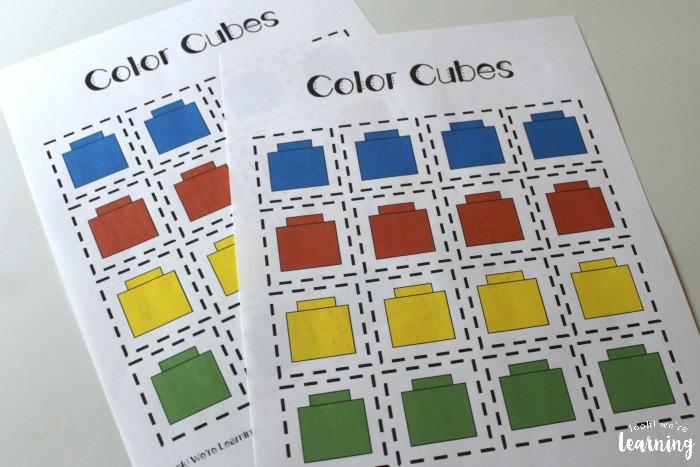 Preschool Sorting Worksheets Color Cubes