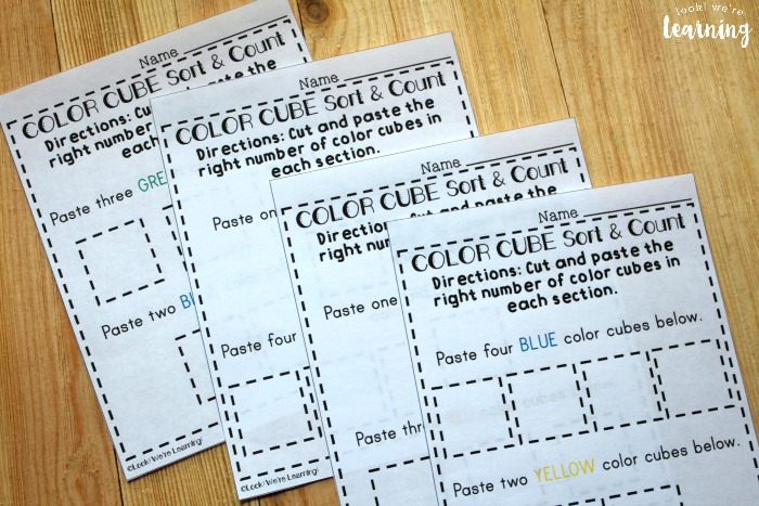 Printable Color Cube Preschool Sorting Worksheets