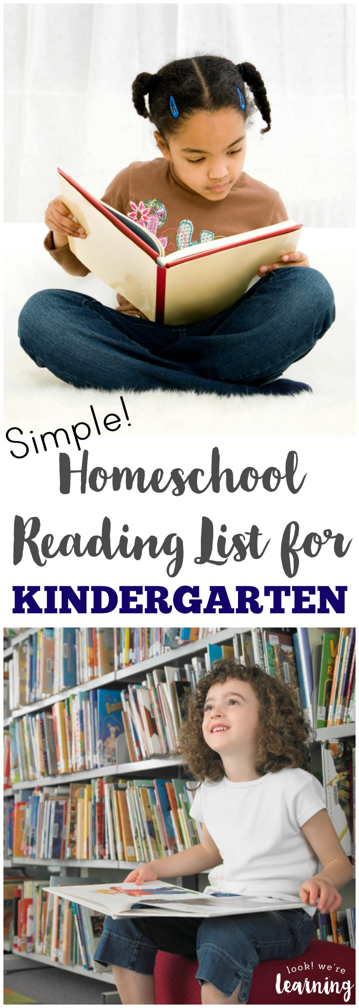Share easy readers and fun stories with this simple kindergarten homeschool reading list!