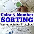 These preschool sorting worksheets are a fun way to practice recognizing colors and counting items in a set!