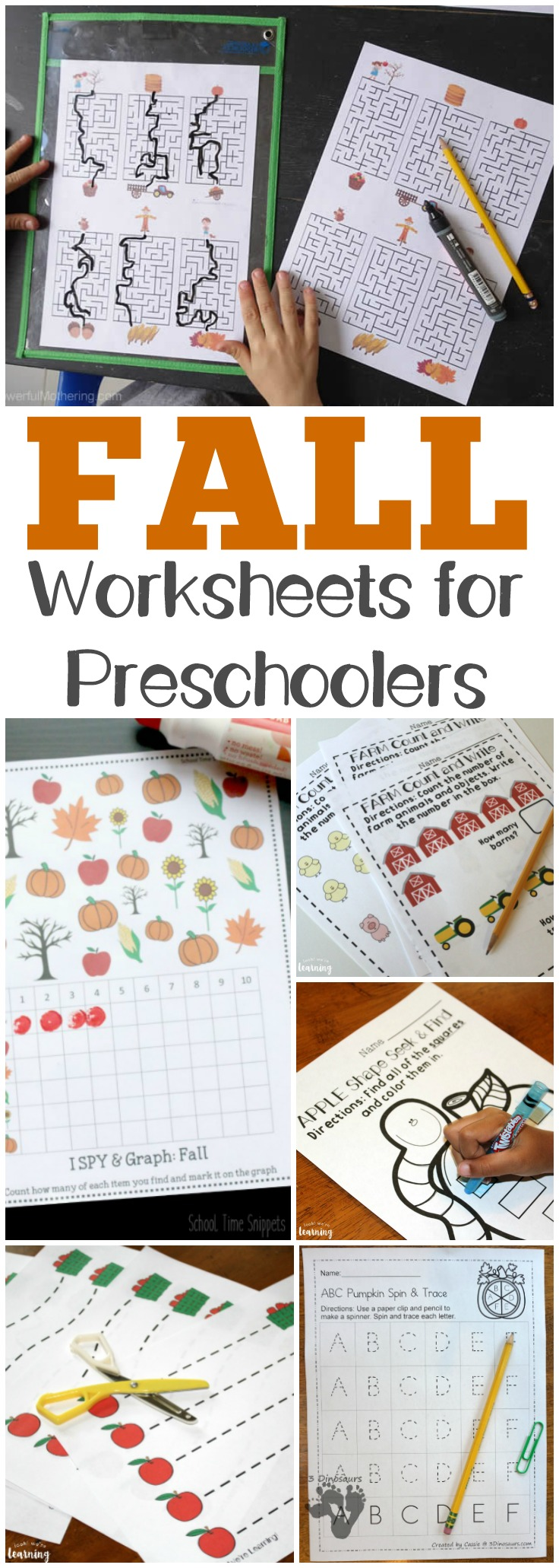 Use these fall preschool worksheets to help your little ones learn all autumn long!
