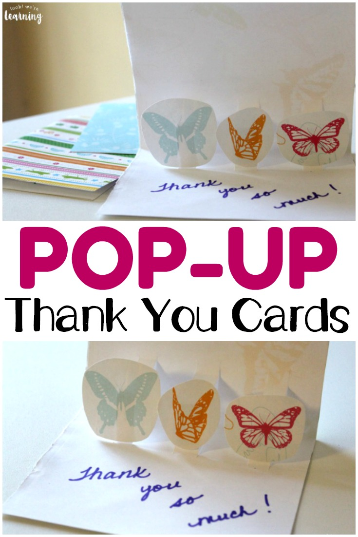 These easy DIY pop up thank you cards are so fun for kids to make! Plus, they are a great way to help kids learn to be thankful!