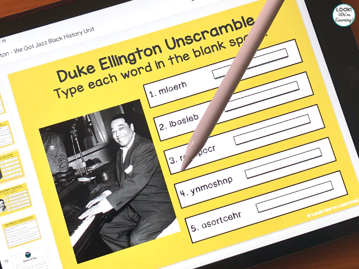 Digital Duke Ellington History Activity