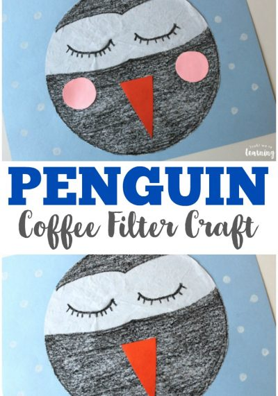 Make this easy and cute coffee filter penguin craft with the kids this winter!