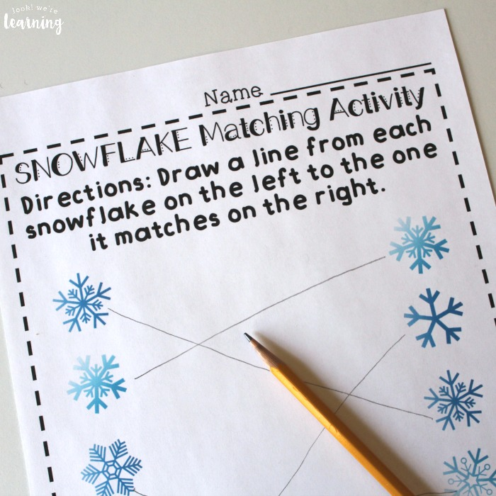 Preschool Matching Worksheets for Winter