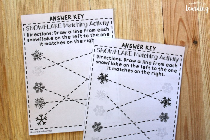 Preschool Snowflake Matching Worksheets