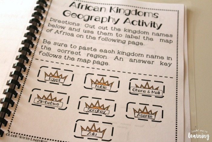 Printable African Kingdoms Geography Activity