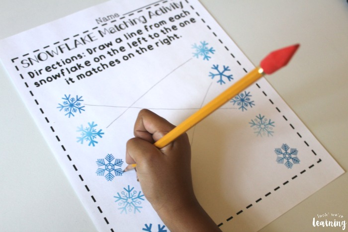 Printable Snowflake Matching Preschool Worksheets