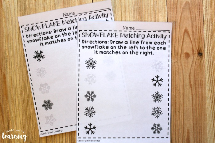 Printable Snowflake Matching Worksheets for Kids