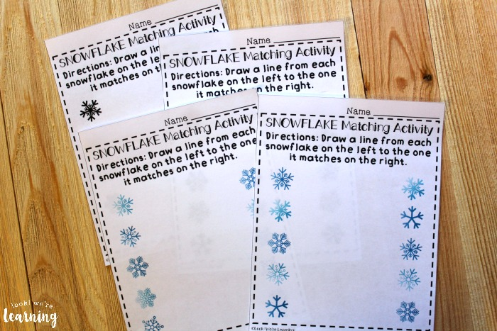 Printable Snowflake Matching Worksheets