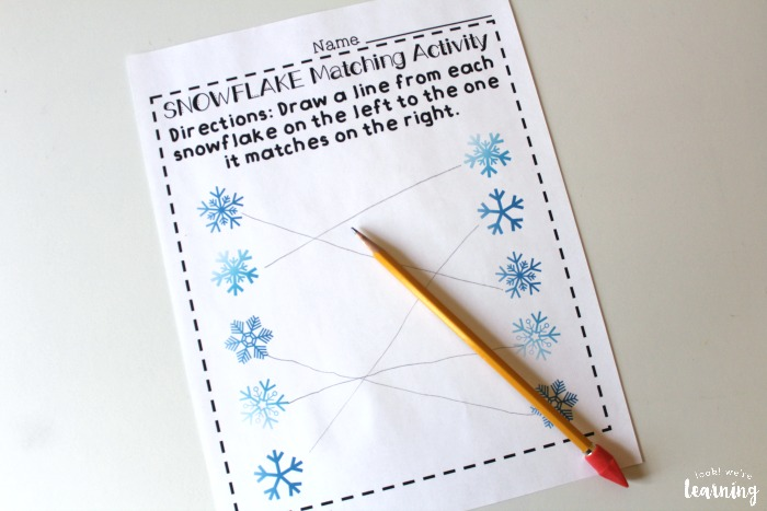 Printable Snowflake Preschool Matching Worksheets
