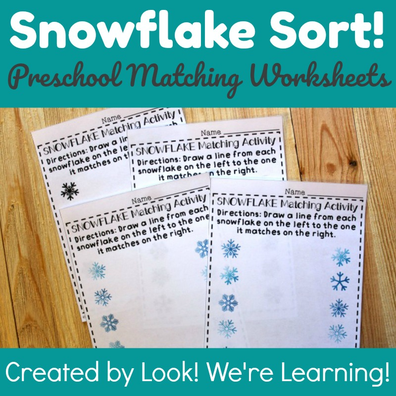 Snowflake Matching Worksheets for Preschool