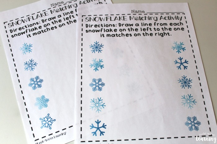 Snowflake Preschool Matching Worksheets