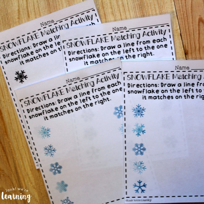 Snowflake Themed Matching Worksheets for Kids