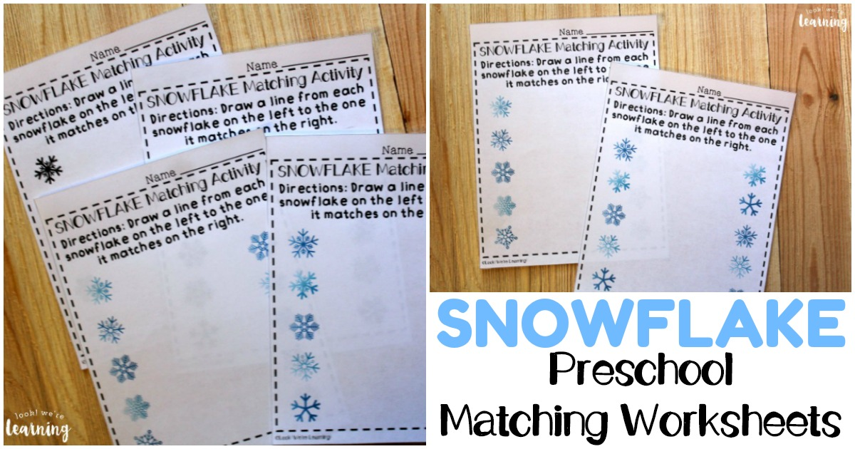 Snowflake Themed Preschool Matching Worksheets