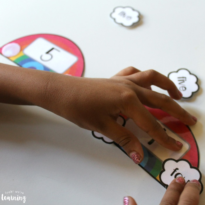 Hands On Rainbow Number Word Matching Activity