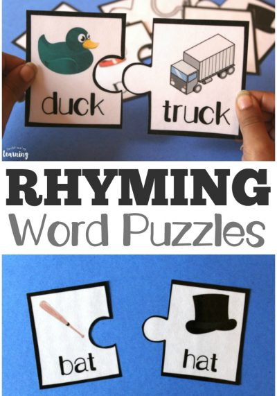 Printable Rhyming Literacy Puzzles for Kids