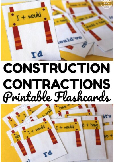 Pick up these printable contraction flashcards to help early elementary students review English contractions!