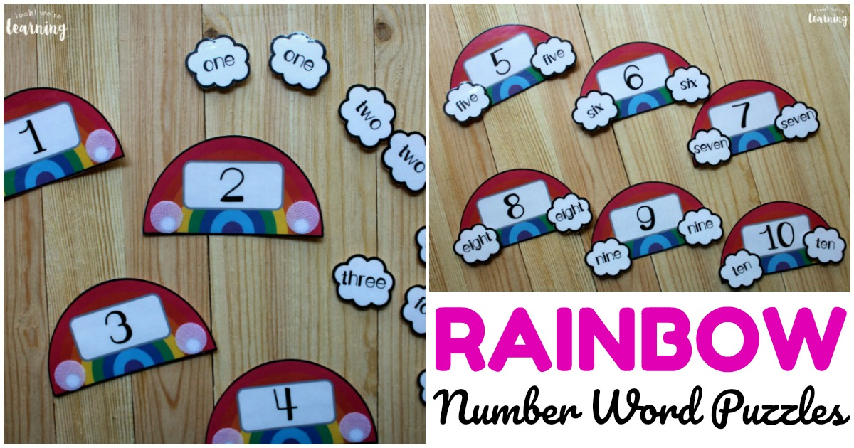 Printable Rainbow Number Word Puzzles for Early Learners