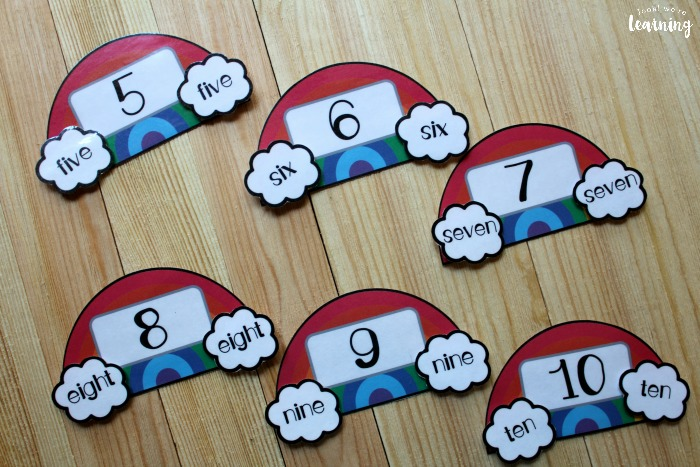 Printable Rainbow Themed Number Word Puzzles