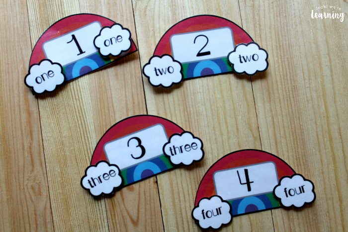 Rainbow Number Word Matching Activity