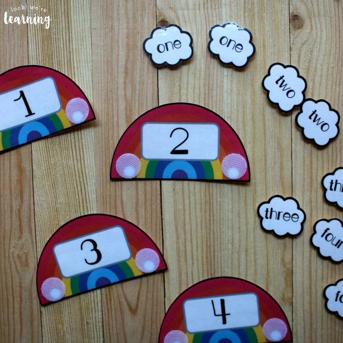 Rainbow Number Word Puzzle Activity for Kids