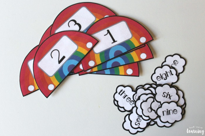 Rainbow Numeral and Number Word Matching