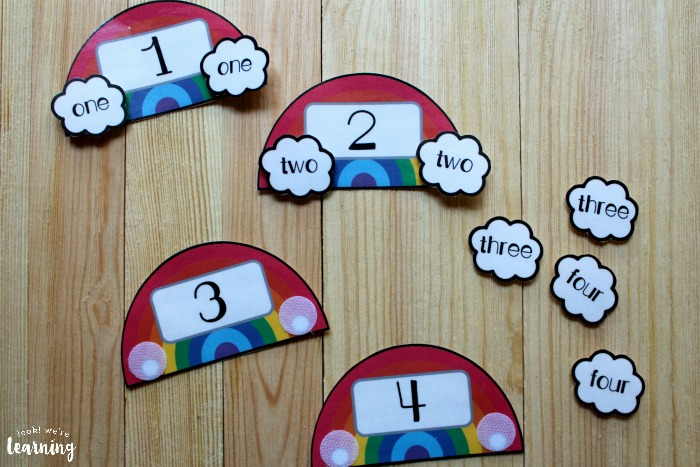 Rainbow Themed Number Word Matching Activity