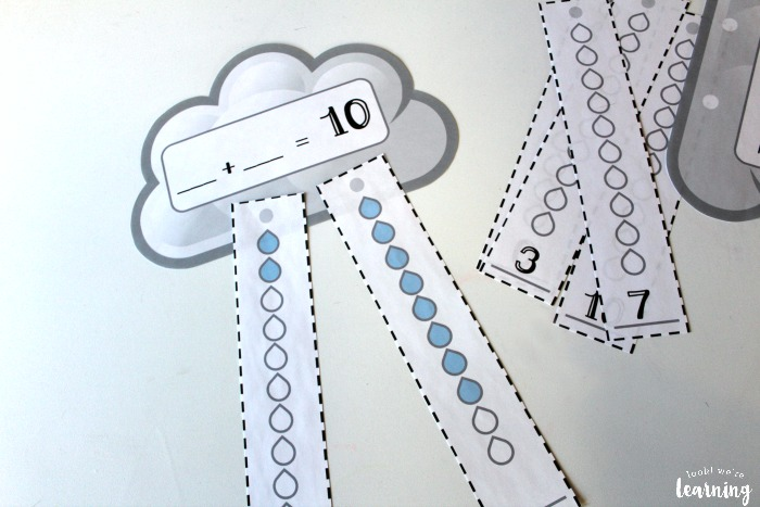 Raincloud Addition to Ten Activity for Kids