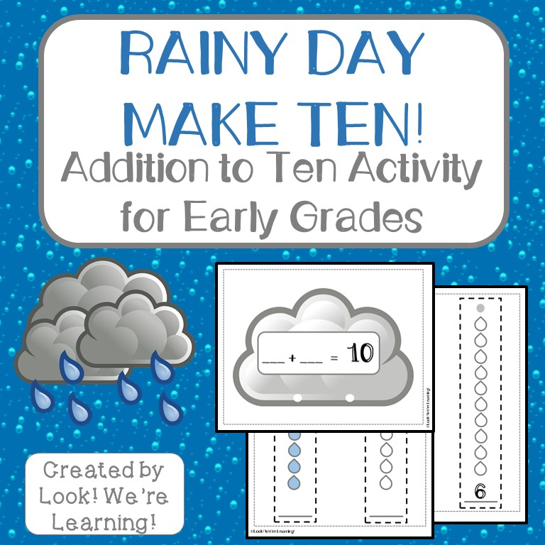 Rainy Day Make Ten Addition Activity