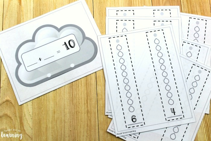 Rainy Day Themed Make Ten Activity for Kids