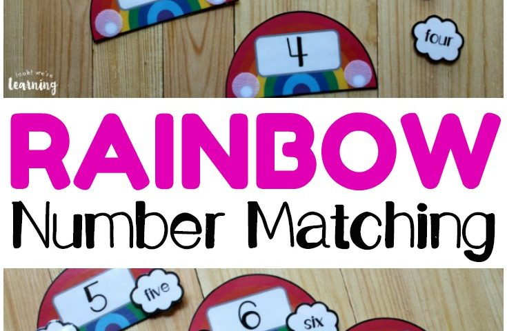 Rainbow Number Word Matching Activity for Kids